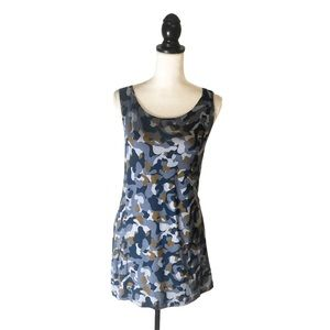 LOGO Lounge Blue Camo Print Sleeveless Tunic Tank